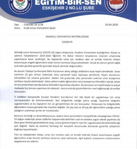 Anadolu Üniversitesi Rektörlüğünden Evde Sınav Hizmetinin İptalini İstedik.